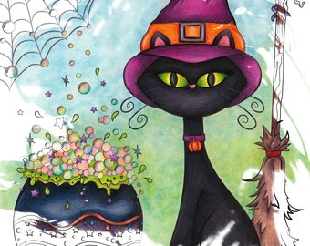 Witchy Halloween Cat - Printable Coloring Page
