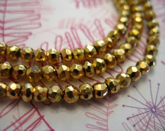 Shop Sale.. PYRITE Rondelles Beads, Fools Gold, Luxe AAA, Full Strand, 3-4 mm, faceted, sparkly contemporary metallic steampunk solo py