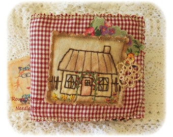 Rouge Cottage- Needle book, Pinkeep, patchwork, Applique, primitive hand drawn, hand embroidered, Made in Australia