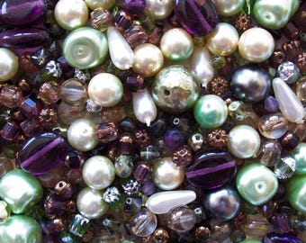 2 oz Czech Glass Bead Mix ~ Vintage Pearl ~ Cathedral ~ Fire Polished ~ Window ~ Pressed ~ 50 Grams ~ Purple Green Assortment
