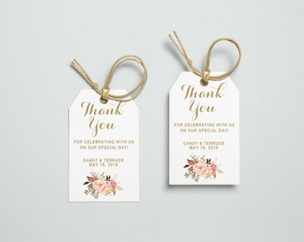 Thank You Tag, Wedding Thank You Tags, Gift Tags, Wedding Favor, Thank You Printable, Wedding Printable, Gold tag, The Mia collection