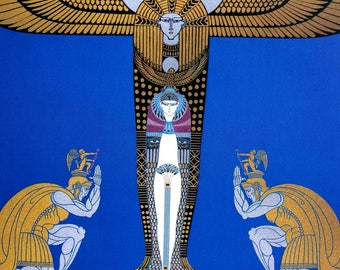 Erte Print 1987 CLEOPATRA CLEOPATRE EGYPTIAN Princess Warriors Egypt Cupids Professionally Matted Art Deco Wall Art Ready to Frame