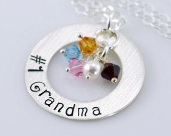 "Number 1 Grandma Necklace - 1"" Hand Stamped Personalized Sterling Silver Donut, Swarovski Birthstone Crystals"