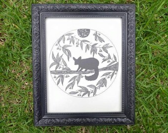 Night Visitor - Possum Wall Art Print of Original Ink Drawing - Limited Edition Signed Illustration