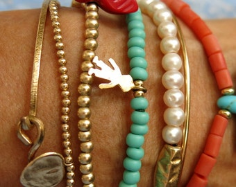 Beaded Bracelets Choice, Pearl Bracelet, Coral Bracelet, Turquoise Charmed Bracelet