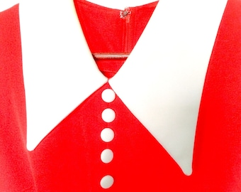 1960's Long Red Dress with White Peter Pan Collar and White Front Buttons