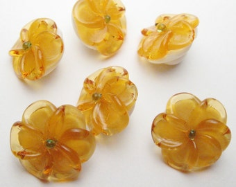 Lampwork Glass Floral Beads, Amber and Ivory Flower Buttons, handmade artisan beads sra