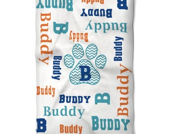 Paw Print Dog Blanket Personalized with Name Monogram You Choose Colors for your Puppy or Dog Soft Washable Fleece Fabric in Two Sizes