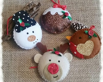 Hanging Christmas Decoration, Rudolph, Robin, Snowman, Christmas pudding, Tree decoration, Christmas decoration