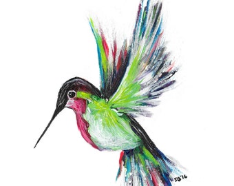 Acrylic Hummingbird Print 5x7