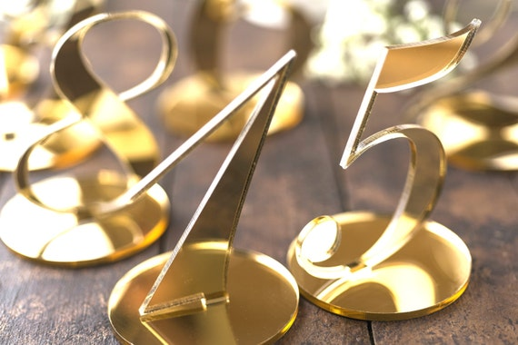 "Wedding Table Number Standing Base Gold Mirror Event Table Numbers Reception Number Holders Acrylic Table Decorations Party favors 3.4"" tall"