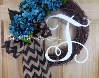 Hydrangea wreath - Mothers day wreath - Wreath - Outdoor wreath - Grapevine wreath - Wedding decor - Housewarming gift