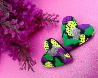 Art in my Heart Studs - Handmade Polymer Clay Earrings