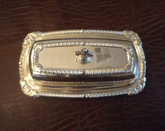 Silver plate Butter dish with Glass inset, Art.co Gift under 15, Christmas Dinner, Elegant Serving