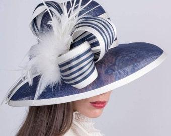 Kentucky derby hat, Royal Ascot hat, navy blue hat, Summer sun hat, Wedding hat, Audrey Hepburn hat, elegant widebrim hat, Edwardian hat