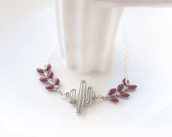 Cactus with purple ear chain silver bracelet