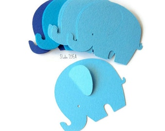 40 Mixed Blue Big Elephant Cut outs, Confetti - Set of 40 pcs