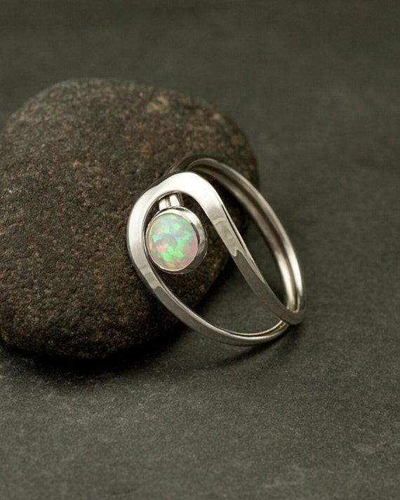Opal Ring, Silver Opal Ring, White Opal Ring, Opal Gemstone Ring, Sterling Silver Stone Ring, Handmade Sterling Silver Jewelry