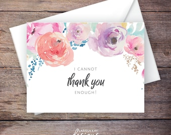 Printable Floral Thank You Greeting Card, Instant Download Greeting Card, Wedding Card Instant Download – Haven