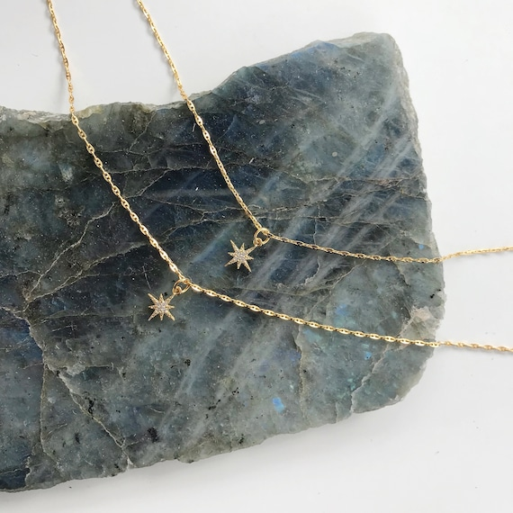 Mini Starburst Necklace // tiny gold pave rhinestone mini star necklace