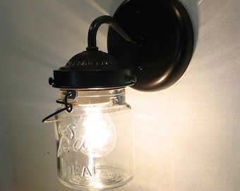 Vintage CLEAR Canning Jar SCONCE Created NEW