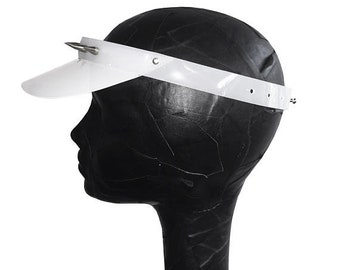 White PVC Warrior Visor - with Silver Studs as worn by Tinashe in Me So Bad music video - onesize - free uk shipping