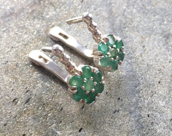 Flower Earrings, Emerald Earrings, Natural Emerald, Natural Emerald Earrings, Vintage Earrings, Vintage Emerald Earrings, Pure Silver