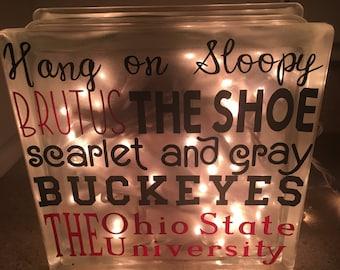 Ohio State Buckeyes Lighted Block, Hang on Sloopy Block, The Ohio State, Buckeyes Light, Scarlet and Gray Lighted Block