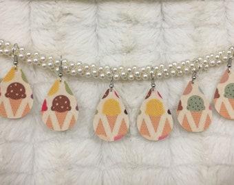 Ice Cream Cones Faux Leather Teardrop Earrings