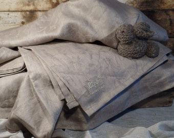 Linen throw Blanket Natural rustic style Bed cover Bed spread Very nice structure Of the dense fabric Dark Grey Flax Organic QUEEN BED SIZE
