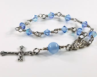Our Lady Rosary, Wire Wrapped Rosary, Swarovski Crystal Blue One Decade Rosary, Swarovski Beads, Holy Rosary, Catholic Gift, Rosary Beads
