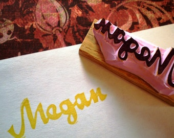 Custom name rubber stamp - hand carved and hand crafted