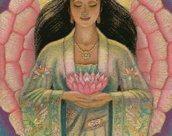 "Goddess Kuan Yin female Buddha art poster spiritual Kwan Zen meditation ""Pink Lotus Heart"" print of painting by Sue Halstenberg"