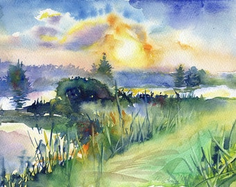 """Sunset watercolor painting - sun painting, print """"Sunset at lake"""", archival watercolor paper"""