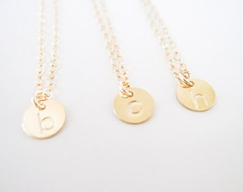 necklace // dainty 14k gold filled initial letter or number stamped circle disc charm