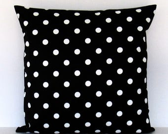 Black Polka Dot Pillow Cover, Black White Pillow, Decorative Throw Toss Accent 16x16 18x18 20x20 22x22 12x16 12x18 12x20 14x22 Zipper