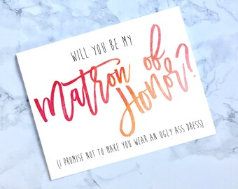 Printable Be My Matron of Honor Card, Funny Matron of Honor Card, Wedding Card, Pink Matron of Honor Card, Watercolor Pink and Orange, A2
