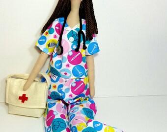 Graduate nurse gift Nurse scrub  gift textile doll nurse gifts Nurse one of kind doll fabric doll nurse fabrics custom doll littles by Bella
