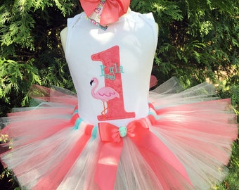 1st Birthday Outfit - Pink Flamingo Party - Baby Girl Clothing - Cake Smash Outfit - Birthday Shirt and Tutus