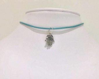 Hamsa Hand Choker - Choker Necklace - Leather Cord Choker - Hamsa Hand Charm