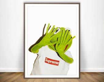 Kermit The Frog Supreme Print Kermit Supreme Shirt Fashion Poster Muppets Supreme Wall Art Supreme Accessories Supreme Merch Supreme Poster