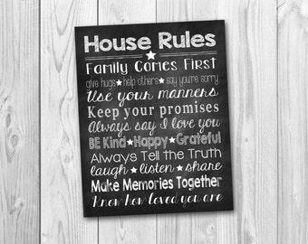 House rules, family rules chalkboard art, chalkboard sign, subway art, digital download
