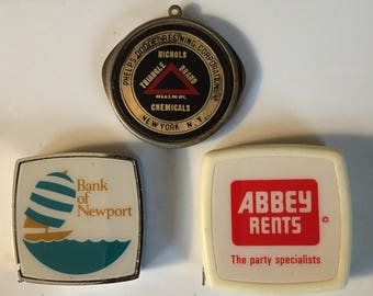Vintage Advertising Pocket Knife and Measuring Tapes Abbey Rents Bank of Newport and Chemical Company Knife