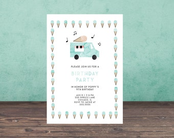 ICE CREAM TRUCK Birthday Invitation, birthday party invitation,  printable, printable invitation, stationary, download,