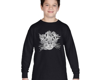 Boy's Long Sleeve T-shirt - Created out of cat themed words Cat Face