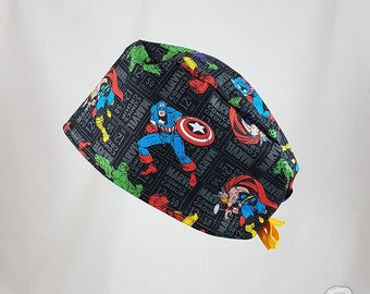 Surgical cap, The Avengers black, SPECIAL EDITION, bies, surgical hats, scrub hats, cake shop, cotton 100%