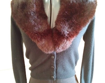 Vintage 50s Black Fur Collar Sweater size Medium