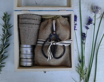 Perennial herb garden kit with bonsai scissors and 3 varieties of herb seeds. a garden seed starting kit.
