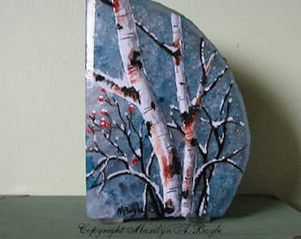 "HAND PAINTED ""BOOKEND"" Stone; birches and berried, winter, pale blue stone, frost look,shelf art, one of a kind,"