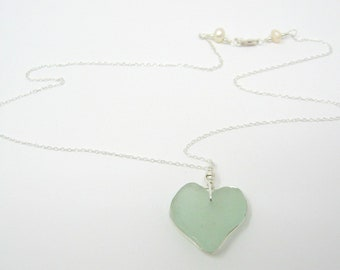 Sea Glass Heart Necklace ~ Sterling Silver and Freshwater Pearls